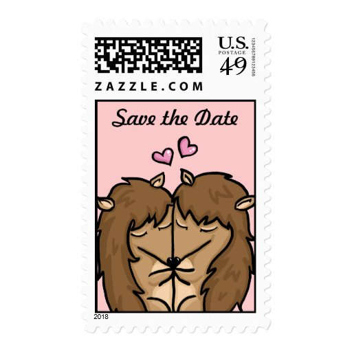 Hedgehogs in love save the date postage stamp