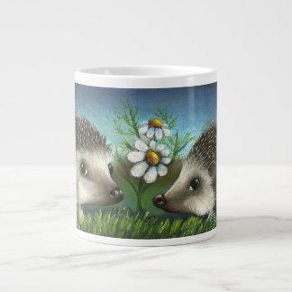 Hedgehogs on a date 20 oz large ceramic coffee mug