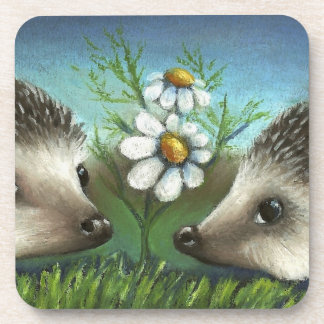 Hedgehogs on a date drink coasters