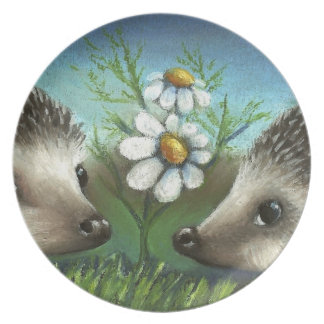 Hedgehogs on a date dinner plate