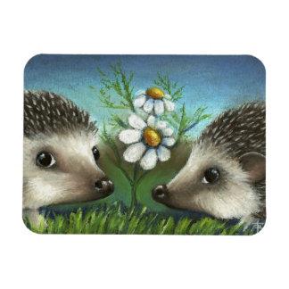 Hedgehogs on a date rectangular photo magnet