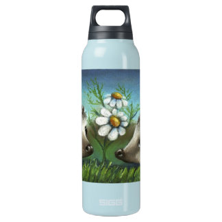 Hedgehogs on a date thermos water bottle