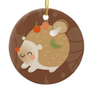 Hedgehogs Double-Sided Ceramic Round Christmas Ornament