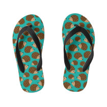 Hedgehogs seamless pattern (ver.1) kid's flip flops