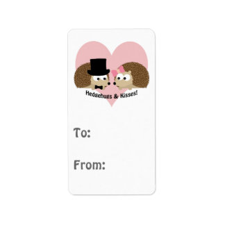 Hedgehugs and Kisses Hedgehog Couple Label