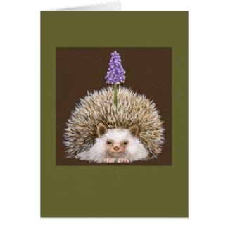 hedghog with grape hyacinth card