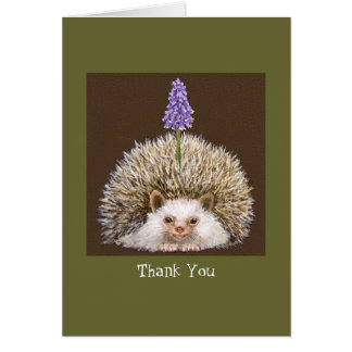 hedghog with grape hyacinth Thank you notecard Stationery Note Card