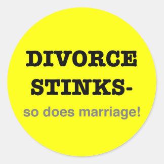 ¡Hedores del divorcio - hace tan boda! Pegatina Redonda