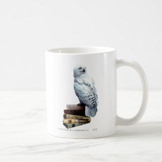 Hedwig on books classic white coffee mug