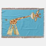 Hee Hee Hee!! Cute Silly Cartoon Giraffe Throw Blanket