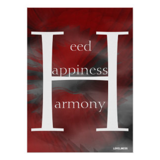 Heed Happiness Harmony Red Poster- Cust.
