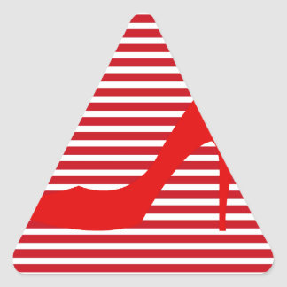 Heel on Red Stripes Triangle Sticker