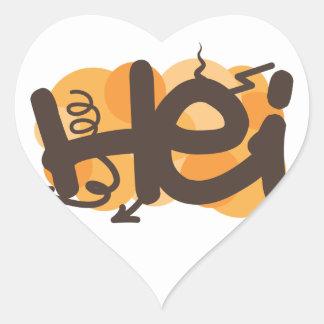 Hei in Finnish Heart Stickers
