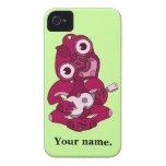Hei rosado Tiki con el Ukulele rosado iPhone 4 Case-Mate Cobertura