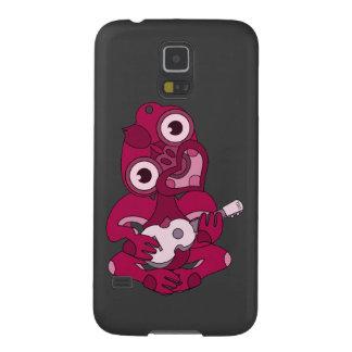 Hei rosado Tiki con el Ukulele rosado Funda Galaxy S5