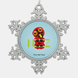 Hei Tiki Maori Design NZ Snowflake Pewter Christmas Ornament