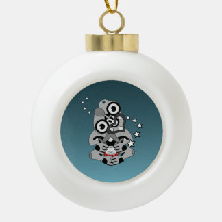 Hei Tiki New Zealand Drum Ceramic Ball Christmas Ornament