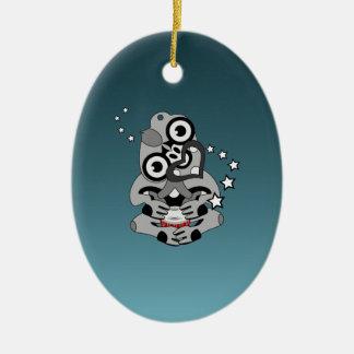 Hei Tiki New Zealand Drum Maori design Ceramic Ornament