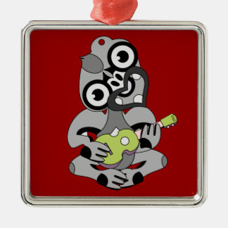 Hei Tiki playing ukelele Metal Ornament