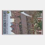 Heidelberg - castillo de debajo pegatina rectangular