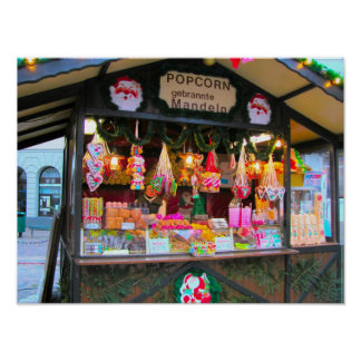 Heidelberg Christmas Market, candy and popcorn Poster