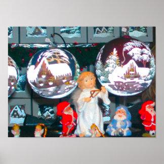 Heidelberg Christmas Market, engraved winter scene Poster