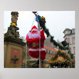Heidelberg Christmas Market,  Swinging Santa Poster