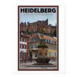 Heidelberg - estatua y castillo tarjeta postal