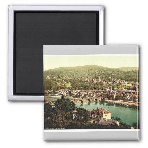 Heidelberg, seen from the Philosophenweg, Baden, G 2 Inch Square Magnet