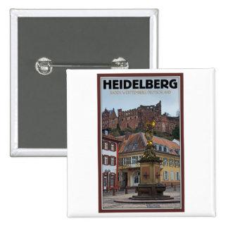 Heidelberg - Statue and Castle 2 Inch Square Button