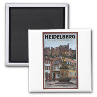Heidelberg - Statue and Castle 2 Inch Square Magnet