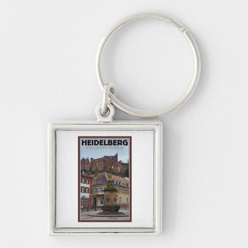Heidelberg - Statue and Castle Silver-Colored Square Keychain