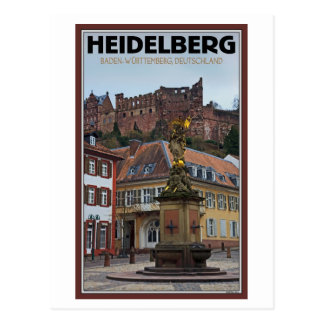Heidelberg - Statue and Castle Postcard