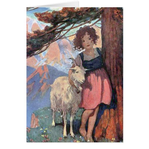 Heidi and Goat Classic Children's Storybook Tale Greeting Cards