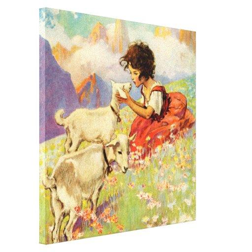 """Heidi and Her Goats"" by Jessie Willcox Smith Gallery Wrap Canvas"