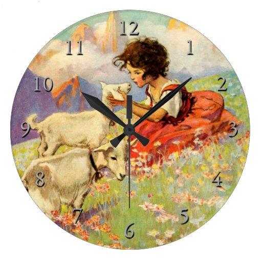 """""""Heidi and Her Goats"""" by Jessie Willcox Smith Wallclock"""