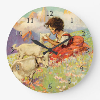"""""""Heidi and Her Goats"""" by Jessie Willcox Smith Large Clock"""