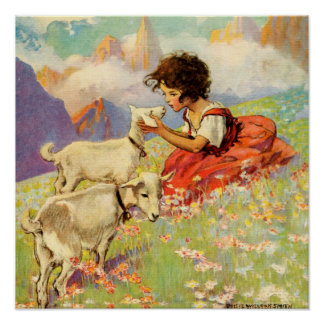 """""""Heidi and Her Goats"""" by Jessie Willcox Smith Poster"""
