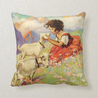 """Heidi and Her Goats"" by Jessie Willcox Smith Throw Pillow"