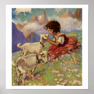 """""""Heidi y su impresión de las cabras"""" - Póster"""