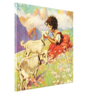 """""""Heidi y sus cabras"""" por Jessie Willcox Smith Impresión En Lienzo"""