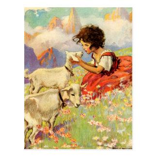 """""""Heidi y sus cabras"""" por Jessie Willcox Smith Postal"""