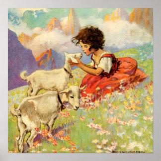 Heidi y sus cabras por Jessie Willcox Smith Poster