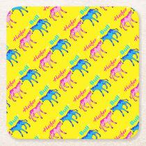 Heifer or Bull Farm Style Gender Reveal Square Paper Coaster
