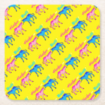 Heifer or Bull Farm Style Gender Reveal Square Paper Coaster