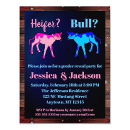 Heifer or Bull Western Style Gender Reveal Card