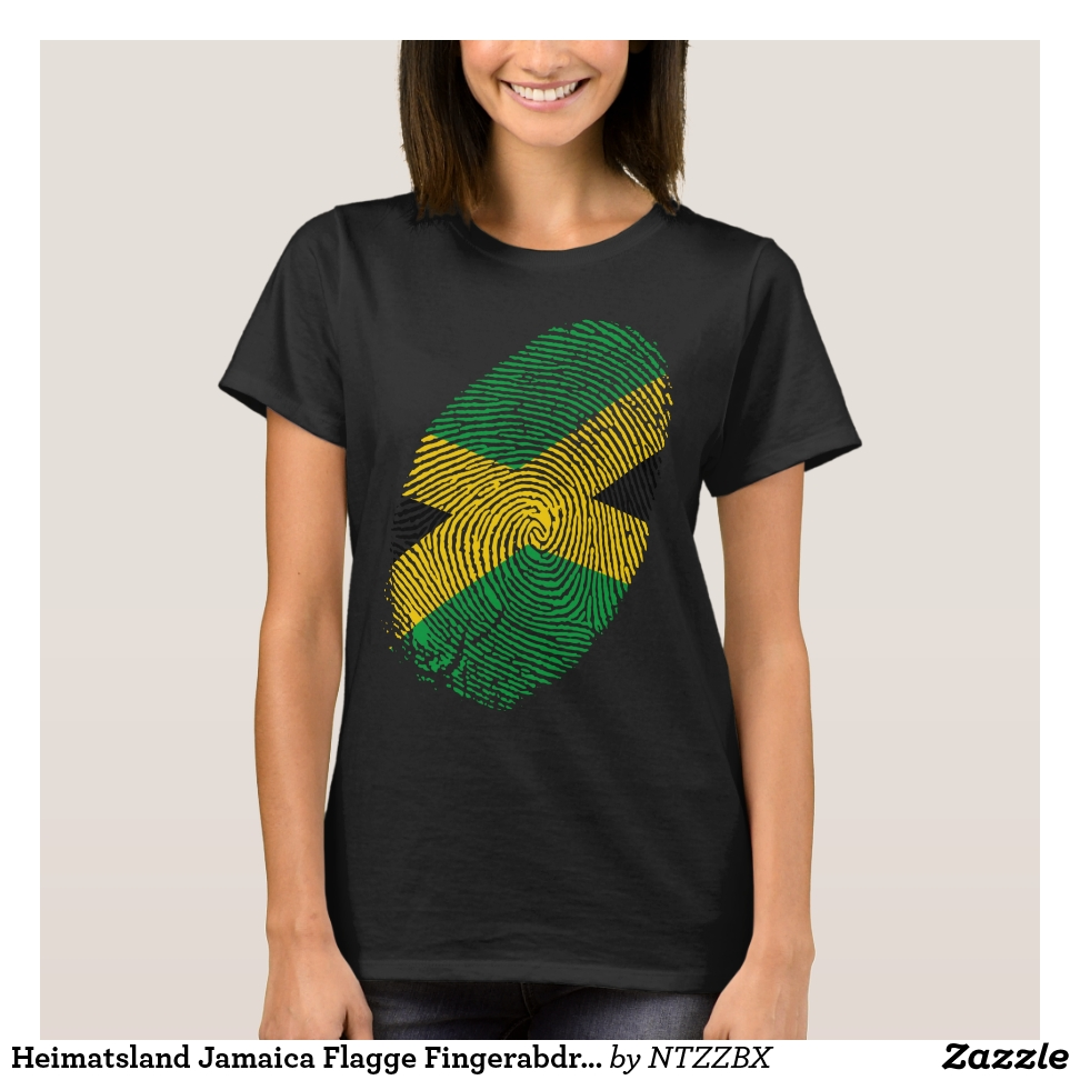 Heimatsland Jamaica Flagge Fingerabdruck T-Shirt - Best Selling Long-Sleeve Street Fashion Shirt Designs