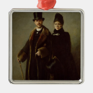 Heinrich Schliemann  and his Wife Square Metal Christmas Ornament