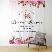 Heirloom Blush Floral Boho Bridal Shower Welcome Tapestry