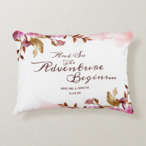 Heirloom Blush Floral Boho Wedding Bridal Shower Accent Pillow